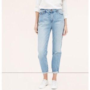 LOFT high waist boyfriend jeans light wash size 8